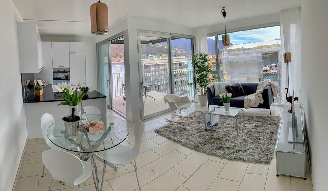 Garden Residence Ascona - Kitchen and living room with view - Kristal SA